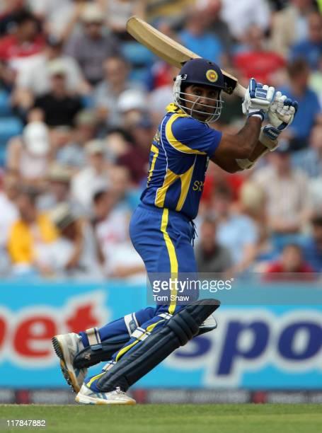Mahela Jayawardene of Sri Lanka gets some runs during the second Natwest One Day International between England and Sri Lanka at Headingley on July 1,...