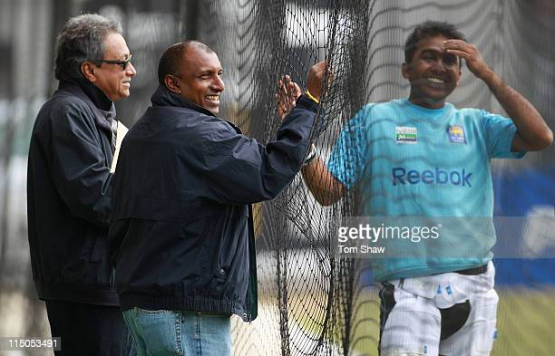 Mahela Jayawardene of Sri Lanka has a chat with formwr player Aravinda Da Silva of Sri Lanka during the Sri Lanka nets session at Lord's Cricket...