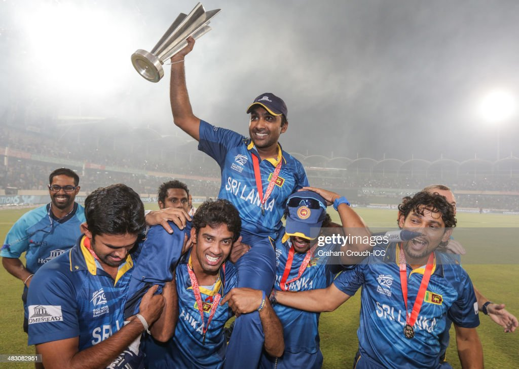 Mahela Jayawardene of Sri Lanka is carried on a the victory lap following their victory in the India v Sri Lanka ICC World Twenty20 Bangladesh 2014 Final at Sher-e-Bangla Mirpur Stadium on April 6, 2014 in Dhaka, Bangladesh.