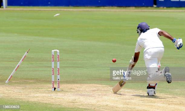 Mahela Jayawardene of Sri Lanka is run out by Jacques Kallis of South Africa during day three of the 1st Test match between South Africa and Sri...