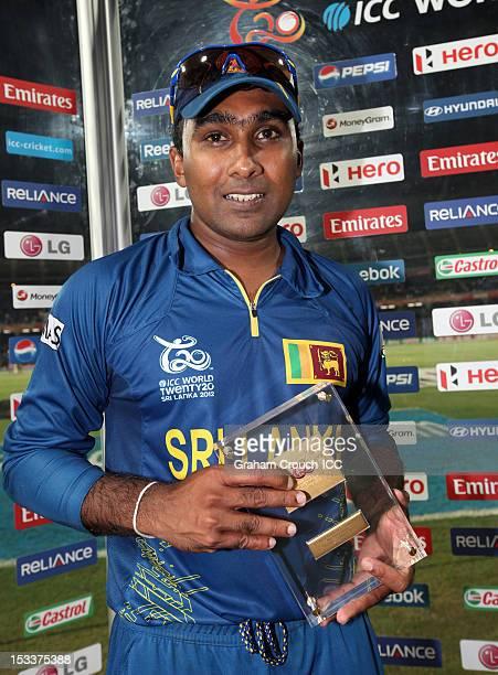 Mahela Jayawardene of Sri Lanka, man of the match is seen with his award after Sri Lanka defeated Pakistan in the ICC World T20 Semi Final between...