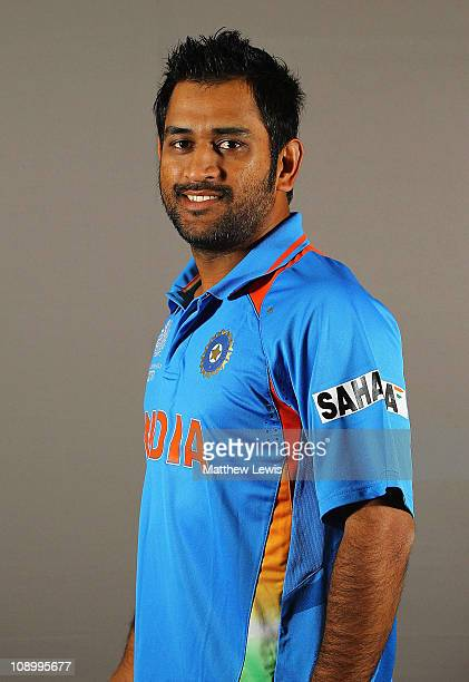 Mahendra Singh Dhoni Captain of India poses during a portrait session ahead of the 2011 ICC World Cup at the ITC Gardenia on February 11 2011 in...