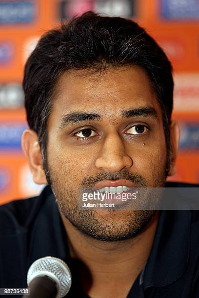 Mahendra Singh Dhoni captain of The India T20 World Cup team attends a press conference on April 28 2010 in Gros Islet Saint Lucia