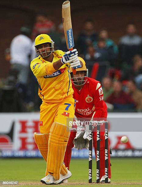 Mahendra Singh Dhoni of Chennai hits out during IPL T20 match between Chennai Super Kings and Royal Challengers Bangalore at St Georges Cricket...