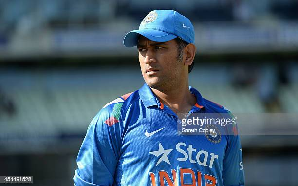 Mahendra Singh Dhoni of India ahead the 4th Royal London One Day International match between England and India at Edgbaston on September 2 2014 in...