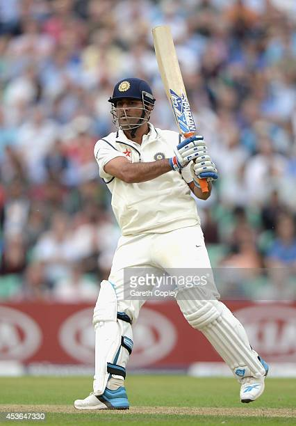 Mahendra Singh Dhoni of India bats during day one of 5th Investec Test match between England and India at The Kia Oval on August 15, 2014 in London,...