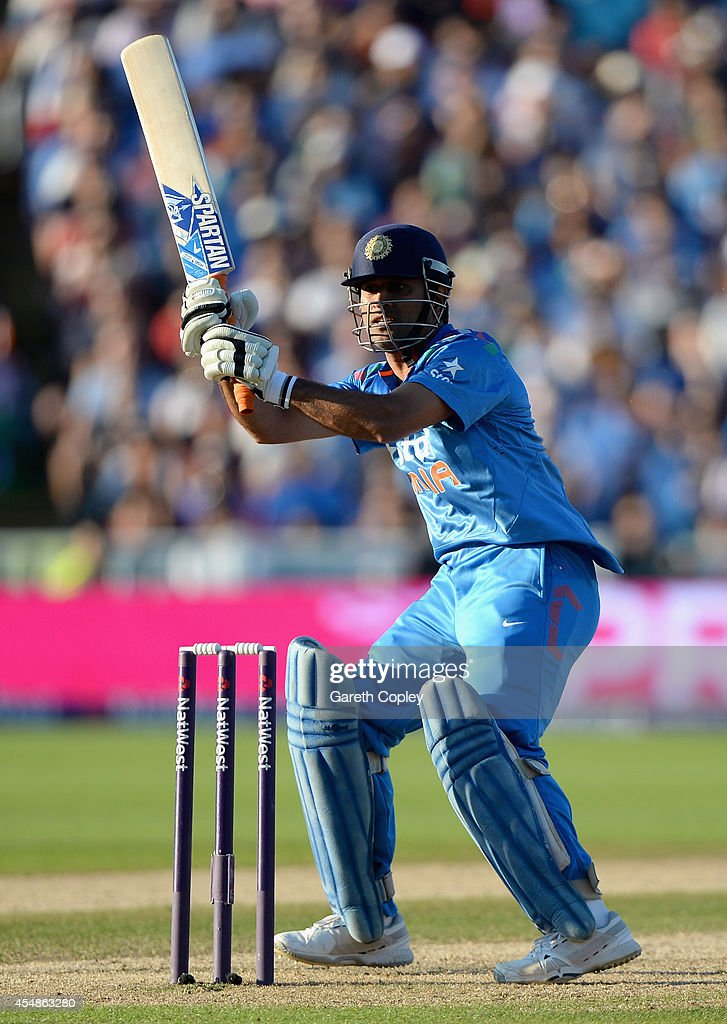 Mahendra Singh Dhoni of India bats during the NatWest International T20 between England and India at Edgbaston on September 7, 2014 in Birmingham, England.