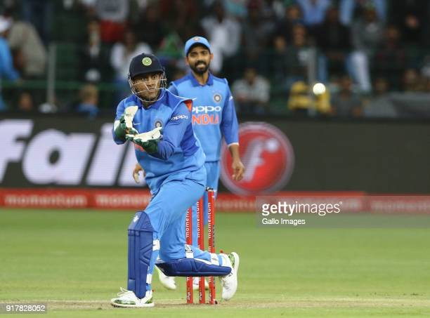 Mahendra Singh Dhoni of India during the 5th Momentum ODI match between South Africa and India at St Georges Park on February 13 2018 in Port...