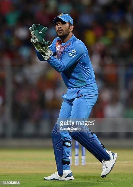 Mahendra Singh Dhoni of India during the ICC Twenty20 World Cup warm up match between India and South Africa at Wankhede Stadium on March 12 2016 in...