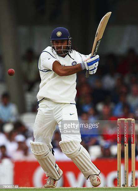 Mahendra Singh Dhoni of India hits out during day four of the Third Test match between England and India at the Oval on August 12 2007 in London...