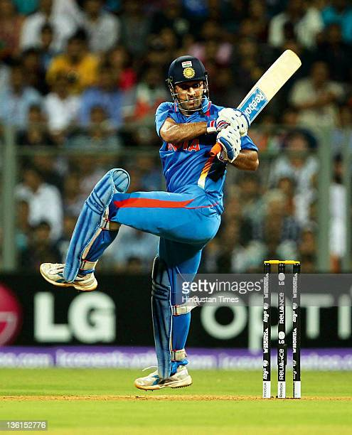 Mahendra Singh Dhoni of India plays a shot during the 2011 ICC World Cup final between India and Sri Lanka at Wankhede stadium in Mumbai, India on...