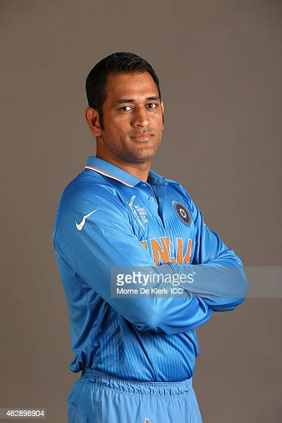 Mahendra Singh Dhoni poses during the India 2015 ICC Cricket World Cup Headshots Session at the Intercontinental on February 7 2015 in Adelaide...