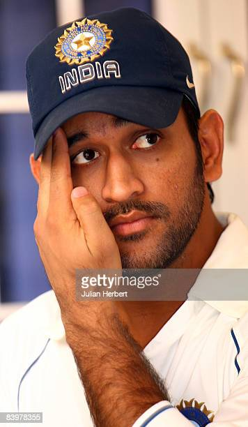 Mahendra Singh Dhoni speaks at a press conference after the Indian nets session at the MA Chidambaram Stadium on December 10 2008 in Chennai India