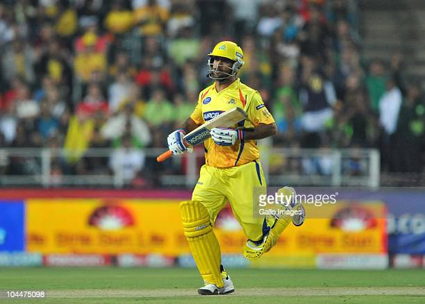 Mahendrs Singh Dhoni of the Super Kings seals the match during the 2010 Airtel Champions League Twenty20 final match between Chennai Super Kings and...