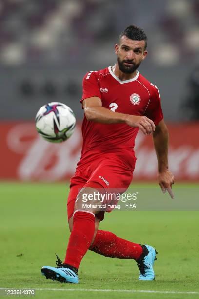 Maher Sabra of Lebanon in action during the FIFA Arab Cup 2021 Qualifying match between Lebanon and Djibouti at Khalifa International Stadium on June...