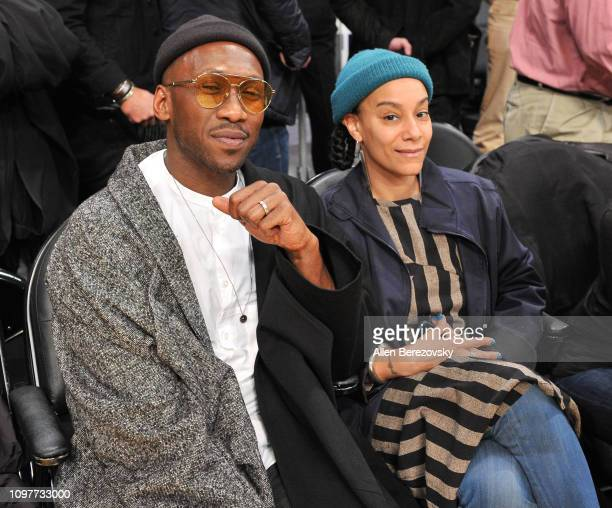 Mahershala Ali and Amatus SamiKarim attend a basketball game between the Los Angeles Lakers and the Golden State Warriors at Staples Center on...
