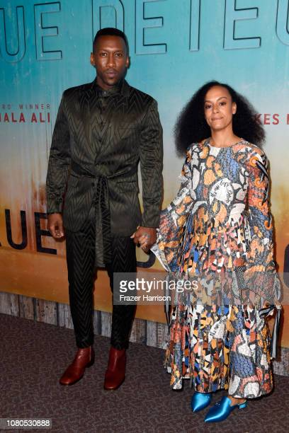 Mahershala Ali and Amatus SamiKarim attend the premiere of HBO's 'True Detective' Season 3 at Directors Guild Of America on January 10 2019 in Los...