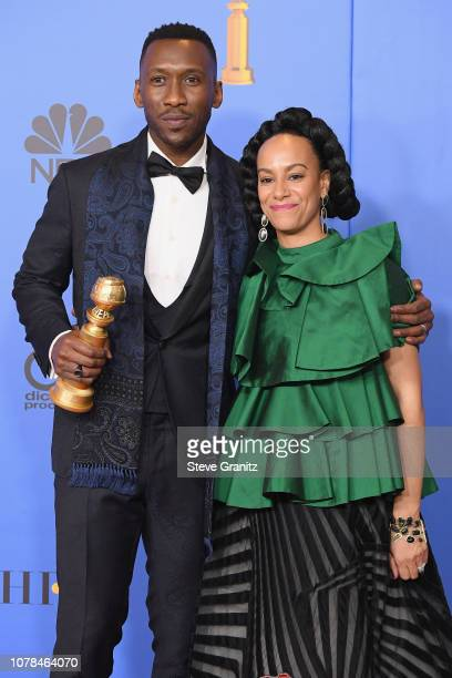 Mahershala Ali and Amatus SamiKarim pose in the press room during the 76th Annual Golden Globe Awards at The Beverly Hilton Hotel on January 6 2019...