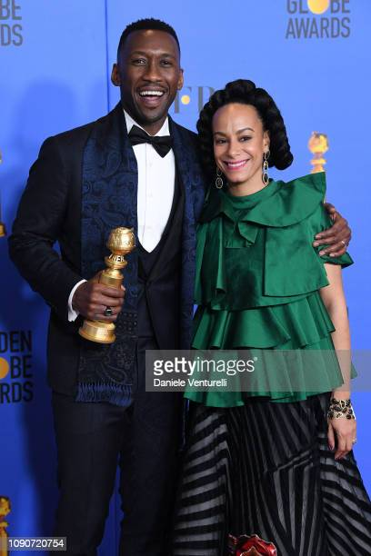 Mahershala Ali and Amatus SamiKarim poses in the press room during the 75th Annual Golden Globe Awards at The Beverly Hilton Hotel on January 06 2019...