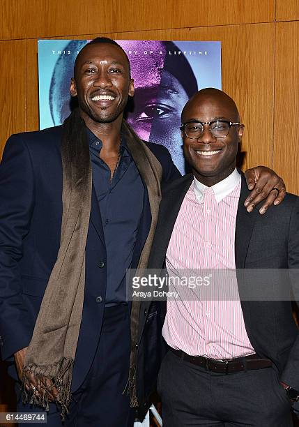 Mahershala Ali and Barry Jenkins attend the premiere of A24's Moonlight at DGA Theater on October 13 2016 in Los Angeles California