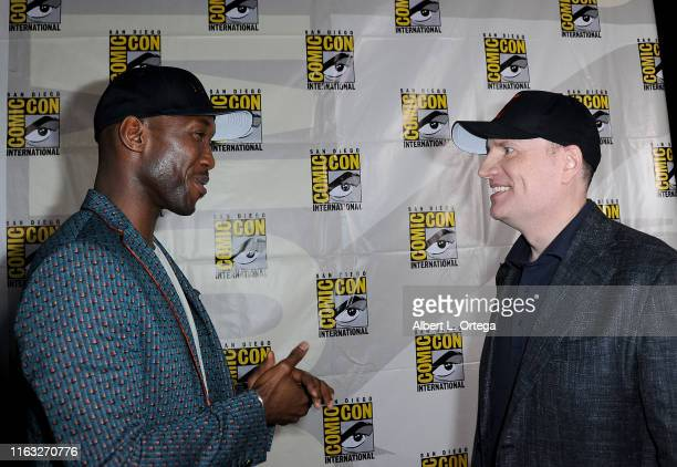 Mahershala Ali and Kevin Feige attend Marvel Studios Panel during 2019 Comic-Con International at San Diego Convention Center on July 20, 2019 in San...