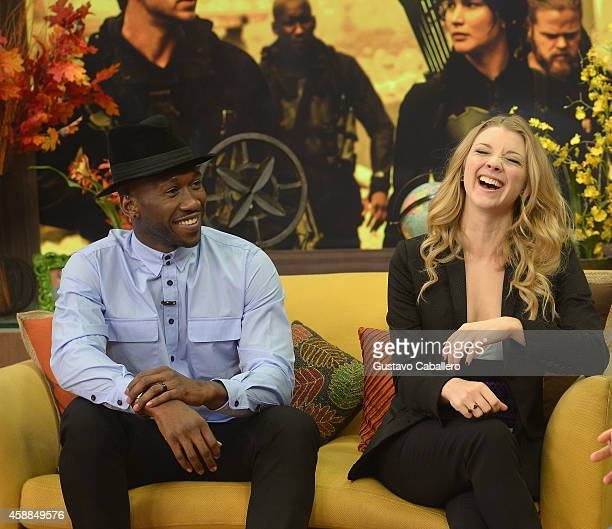 Mahershala Ali and Natalie Dormer on the set of 'Despierta America' at Univision Headquarters on November 12 2014 in Miami Florida