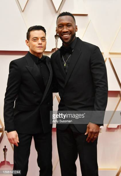 Mahershala Ali and Rami Malek attend the 92nd Annual Academy Awards at Hollywood and Highland on February 09 2020 in Hollywood California