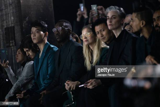 Mahershala Ali and Sasha Luss are seen at the Ermenegildo Zegna fashion show on January 10 2020 in Milan Italy