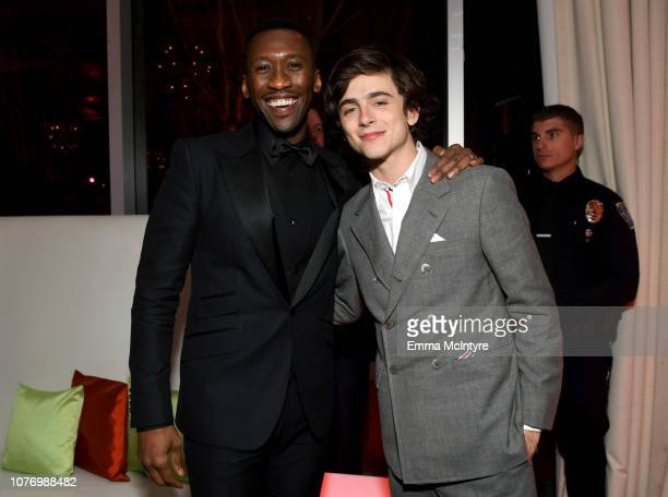 Mahershala Ali and Timothee Chalamet attend the 30th Annual Palm Springs International Film Festival Film Awards Gala at Palm Springs Convention...