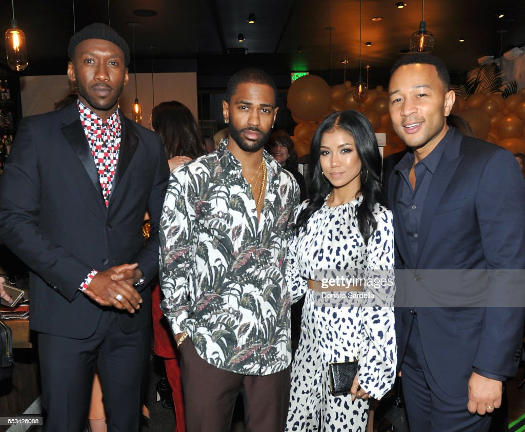 Mahershala Ali, Big Sean, Jhene Aiko, and John Legend at the Power Stylists Dinner, hosted by The Hollywood Reporter and Jimmy Choo, on March 14, 2017 in West Hollywood, California.