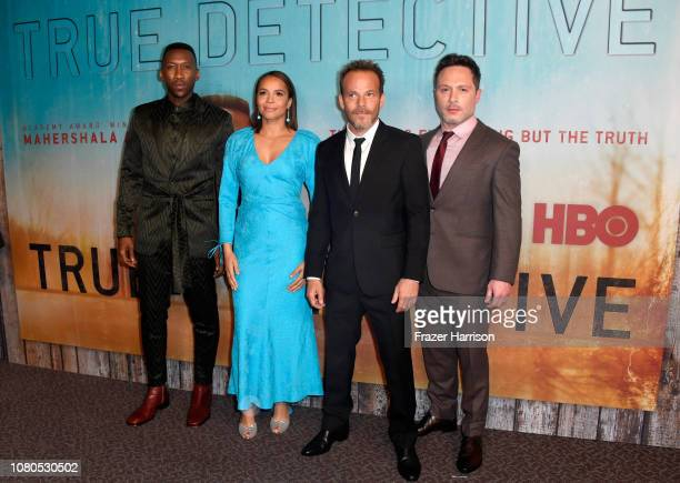 Mahershala Ali Carmen Ejogo Stephen Dorff and Nic Pizzolatto attend the premiere of HBO's 'True Detective' Season 3 at Directors Guild Of America on...