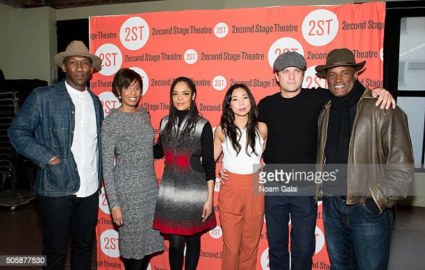 Mahershala Ali Lydia R Diamond Tessa Thompson Anne Son Joshua Jackson and Kenny Leon attend the 'Smart People' photo call at Second Stage Theatre on...