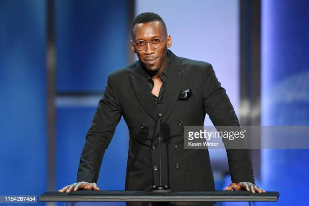 Mahershala Ali speaks onstage during the 47th AFI Life Achievement Award honoring Denzel Washington at Dolby Theatre on June 06 2019 in Hollywood...