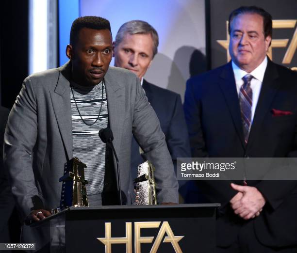 Mahershala Ali Viggo Mortensen and Nick Vallelonga accept the Hollywood Ensemble Award for Green Book onstage during the 22nd Annual Hollywood Film...