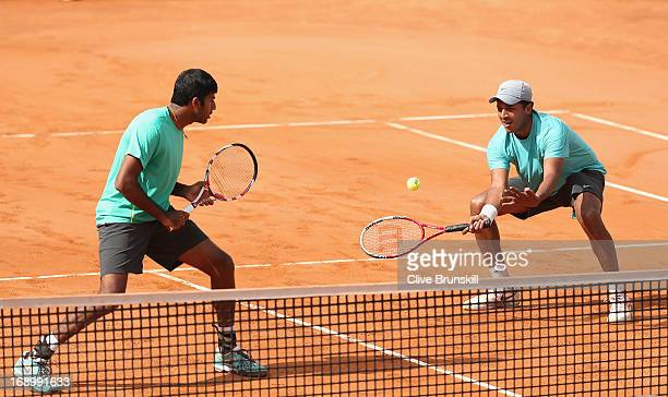 Mahesh Bhupathi and Rohan Bopanna of India in action against Santiago Gonzalez of Mexico and Scott Lipsky of the USA in their doubles semi final...
