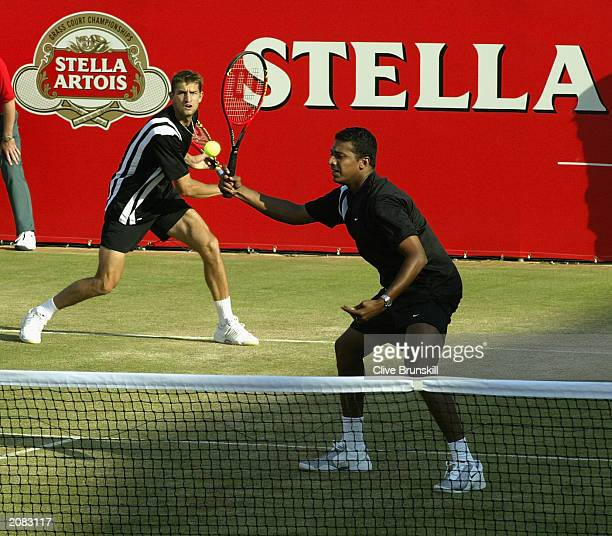 Mahesh Bhupathi, of India, and Max Mirnyi, of Belarus, are shown in action against Daniel Nestor, of Canada, and Mark Knowles, of Bahamas, during the...