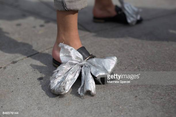 Mahfoud Laaziz is seen attending NaeeM Khan and Chiara Boni La petite Rose during New York Fashion Week wearing Levis Steve Madden custom jewelry...