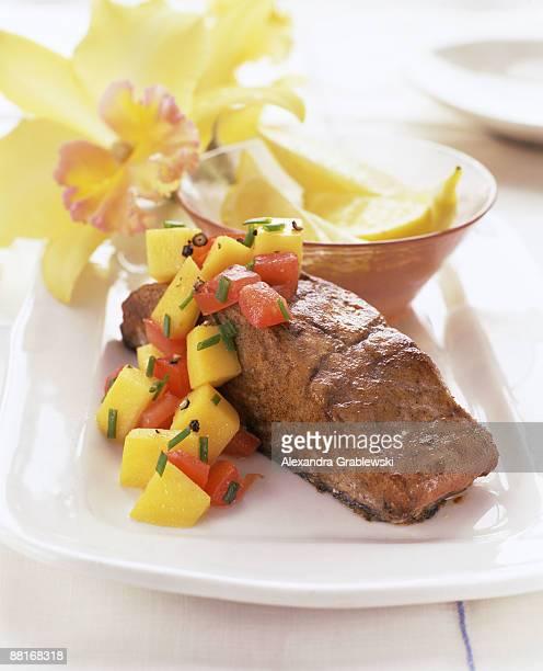 Mahi mahi steak with mango salsa