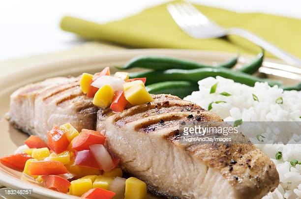 mahi with fruit salsa - dolphin fish stock pictures, royalty-free photos & images
