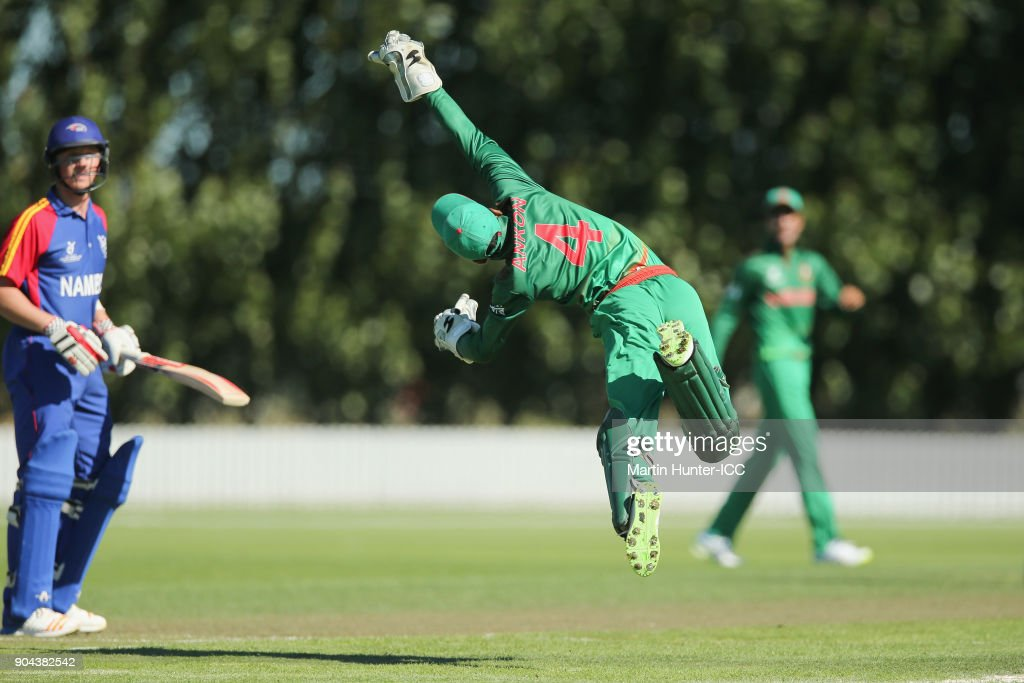 Mahidul Islam Ankon, Bangladesh wicketkeeper jumps for the ball to run out Jurgen Linde of Namiba during the ICC U19 Cricket World Cup match between Bangladesh and Namibia at Bert Sutcliffe Oval on January 13, 2018 in Christchurch, New Zealand.