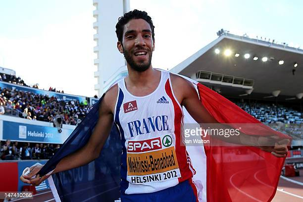 Mahiedine Mekhissi-Benabbad of France celebrates victory in the Men's 3000 Metre Steeplechase Final during day three of the 21st European Athletics...