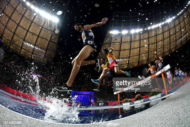 Mahiedine Mekhissi-Benabbad of France competes in the Men's 3000m Steeplechase during day three of the 24th European Athletics Championships at...
