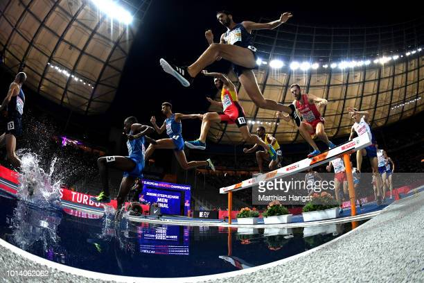 Mahiedine MekhissiBenabbad of France competes in the Men's 3000m Steeplechase during day three of the 24th European Athletics Championships at...