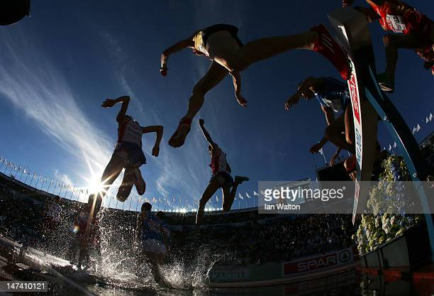 Mahiedine Mekhissi-Benabbad of France competes on his way to victory in the Men's 3000 Metre Steeplechase Final during day three of the 21st European...