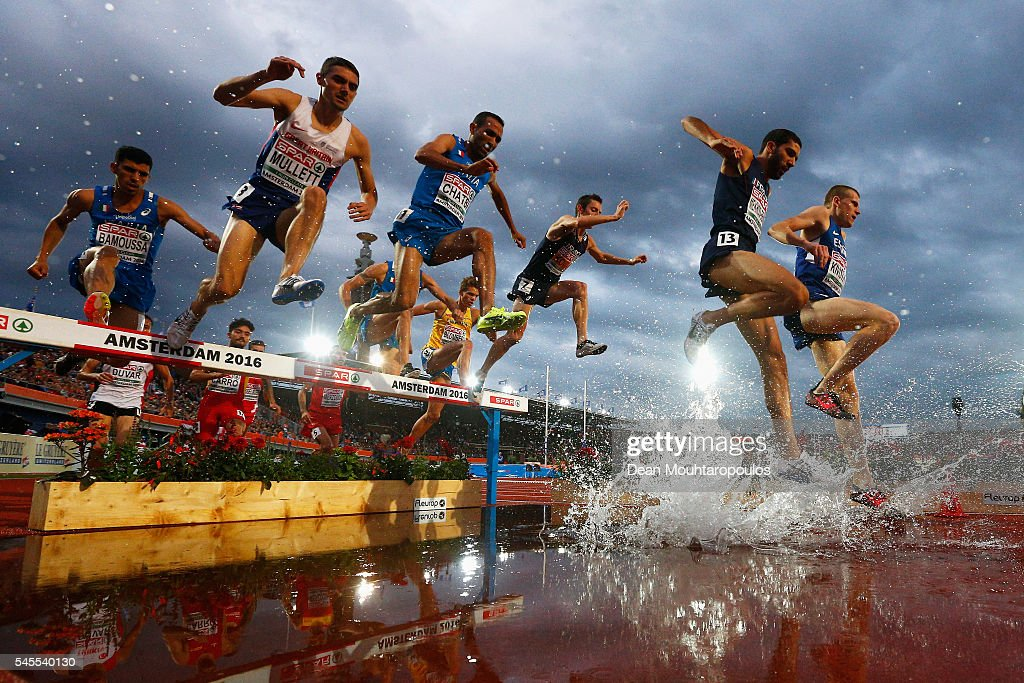 Mahiedine Mekhissi-Benabbad #13 of France on his way to winning the gold medal in the final of the mens 3000m steeplechase on day 3 of the 23rd European Athletics Championships held at Olympic Stadium on July 8, 2016 in Amsterdam, Netherlands.