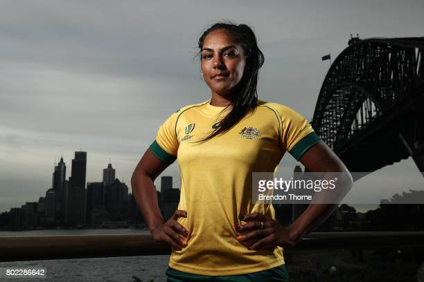 Mahilha Murphy of Australia poses during the Australian Women's Rugby World Cup Squad Announcement at Milsons Point on June 28, 2017 in Sydney,...
