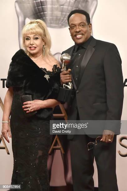 Mahin Wilson and Charlie Wilson attend the 49th NAACP Image Awards Press Room at Pasadena Civic Auditorium on January 15 2018 in Pasadena California