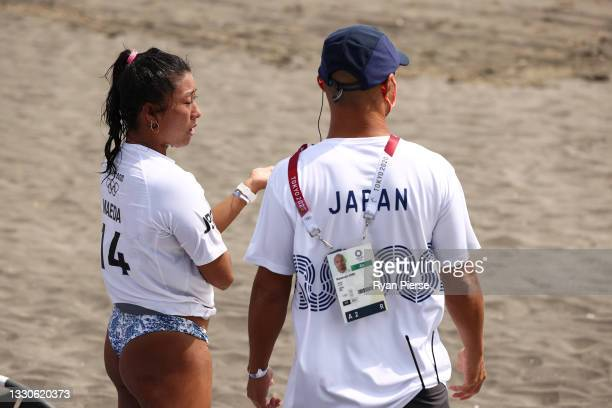 Mahina Maeda of Team Japan shows emotion after losing her Women's Round 3 heat to Caroline Marks of Team United States on day three of the Tokyo 2020...