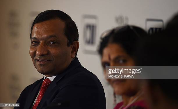 Mahindra & Mahindra executive director Pawan Goenka, president of the automotive and farm equipment sectors, looks on at a session named 'Shaping the...