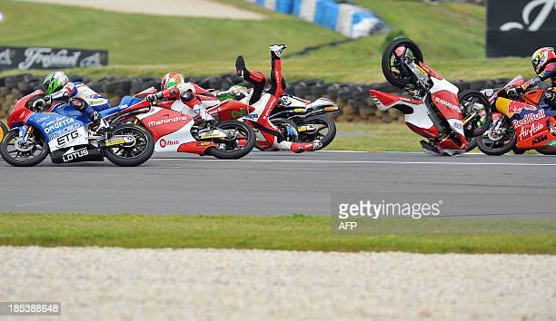 Mahindra Racing rider Miguel Oliveira of Portugal crashes out during the Moto3 race at the Australian Grand Prix at Phillip Island on October 20 2013...